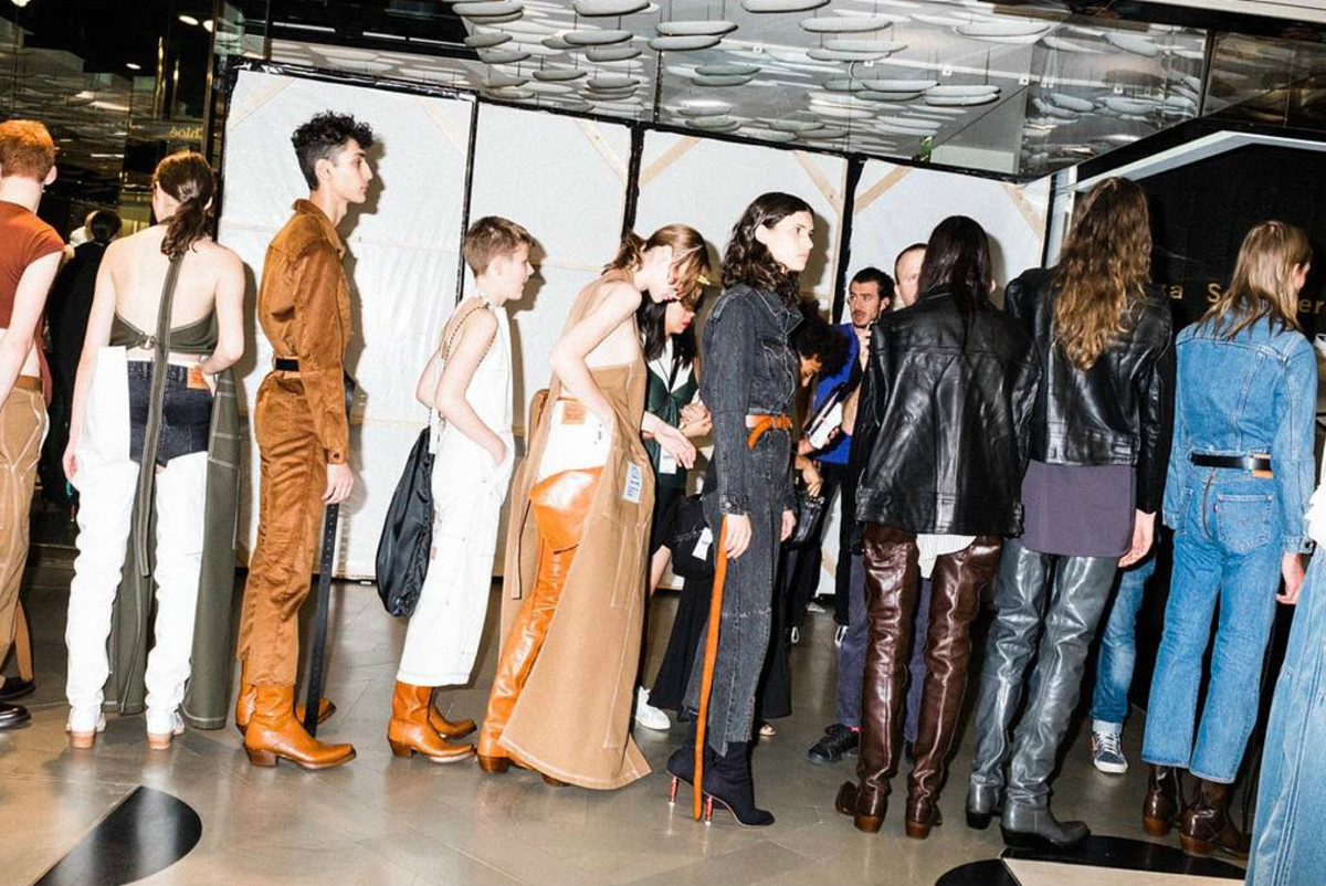 Models backstage at Vetements's Spring 2017 show. Photo: @vetements_official/Instagram