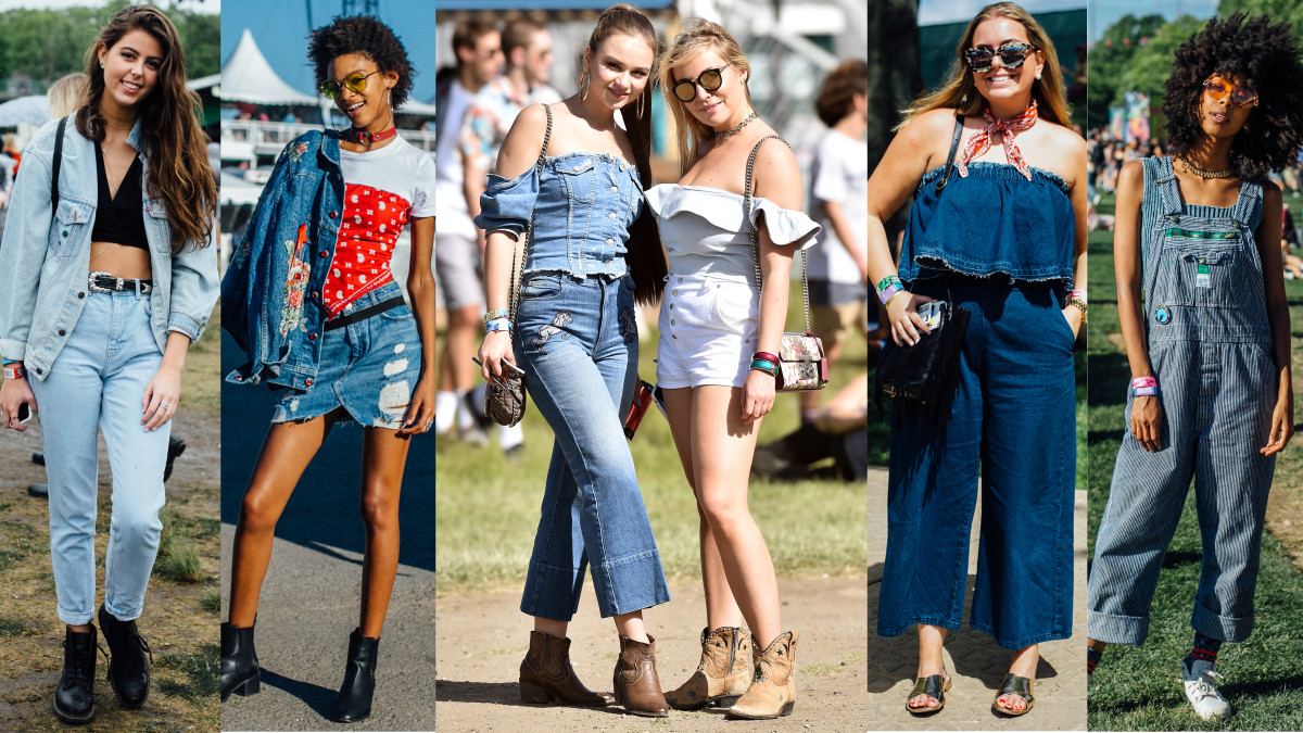 Denim, denim, denim. Photos from left to right: Emily Malan/Fashionista (2), Steven Ferdman/Getty Images, Emily Malan/Fashionista (2)