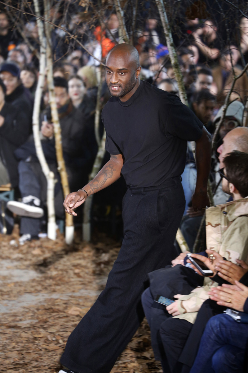 Virgil Abloh at Off-White's Fall 2017 show as part of Paris Fashion Week. Photo: Estrop/Getty Images