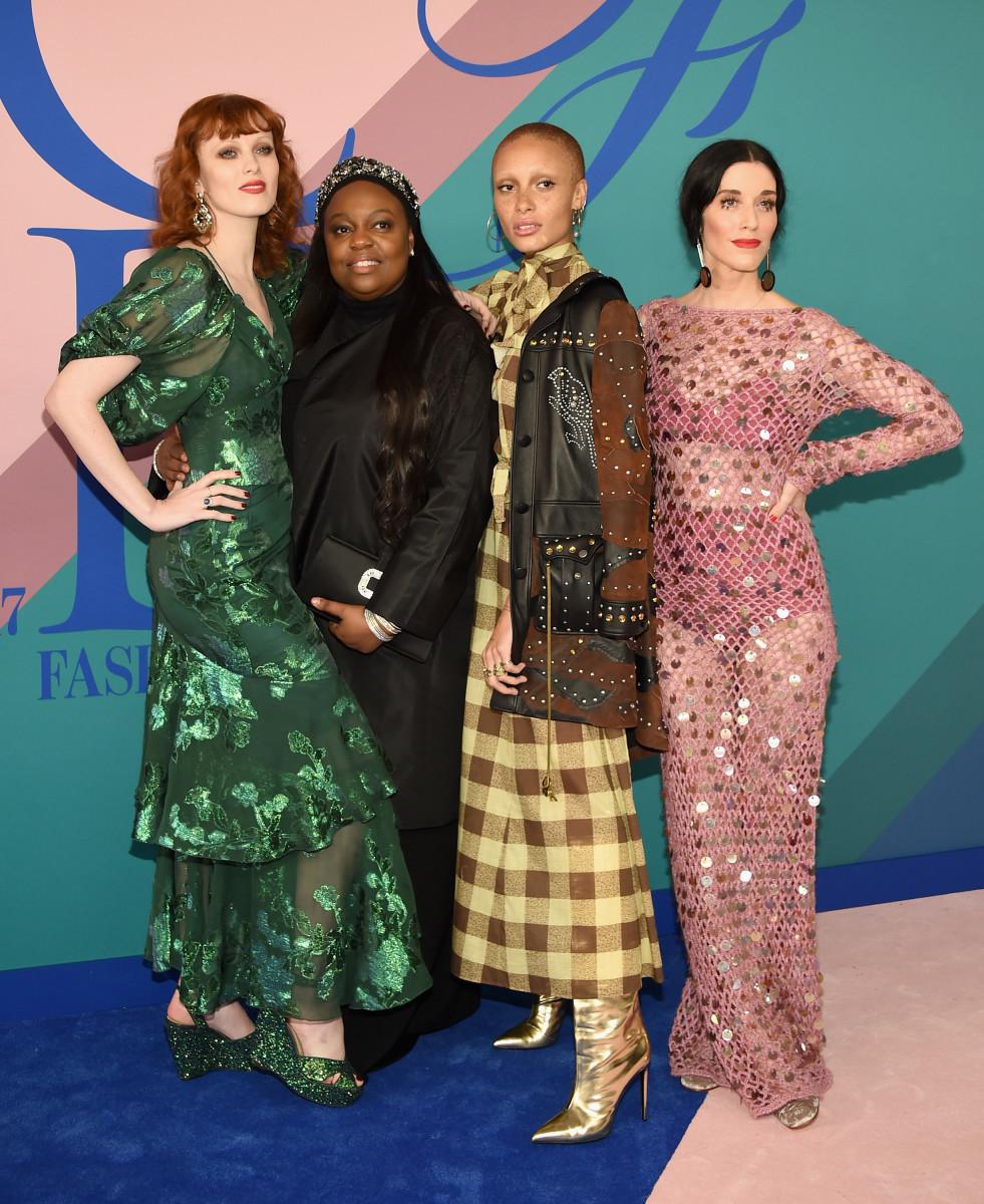 Karen Elson in Anna Sui, Pat McGrath, Adwoa Aboah and Sarah Sophie Flicker. Photo: Dimitrios Kambouris/Getty Images