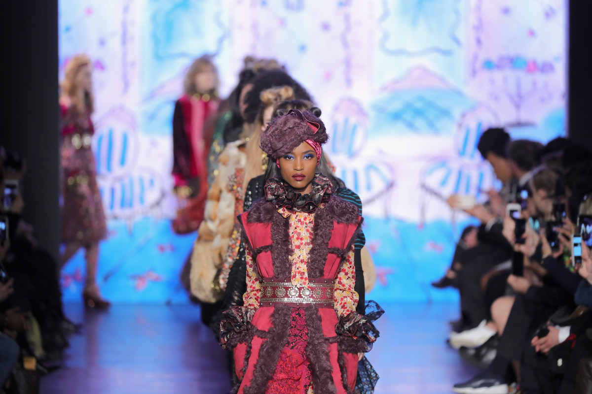 Anna Sui's collection on the runway at Skylight Clarkson Sq in February. Photo: Neilson Barnard/Getty Images