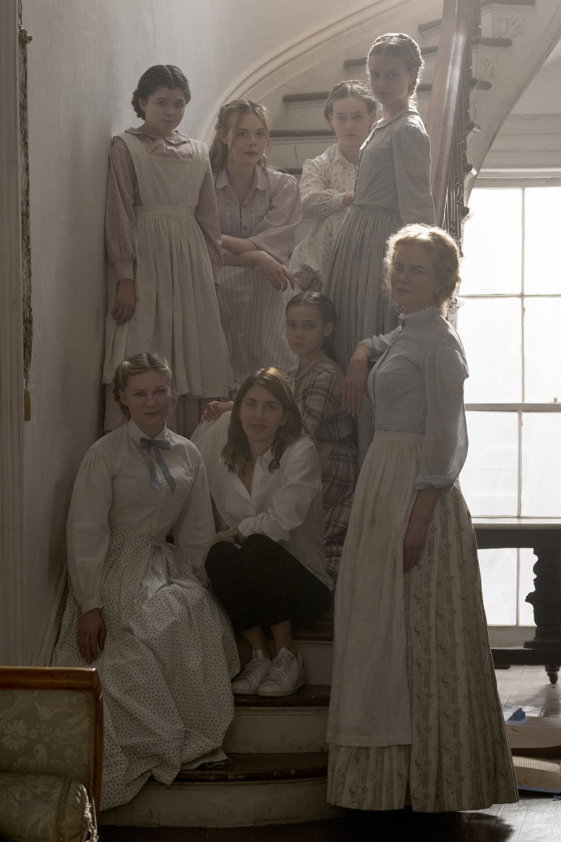 Top: Marie (Addison Riecke), Alicia (Elle Fanning), (Emily) Emma Howard and (Jane) Angourie Rice. [Bottom] Edwina (Kirsten Dunst), Screenwriter and director Sofia Coppola, Amy (Oona Laurence), Miss Martha (Nicole Kidman). Photo: Ben Rothstein / Focus Features