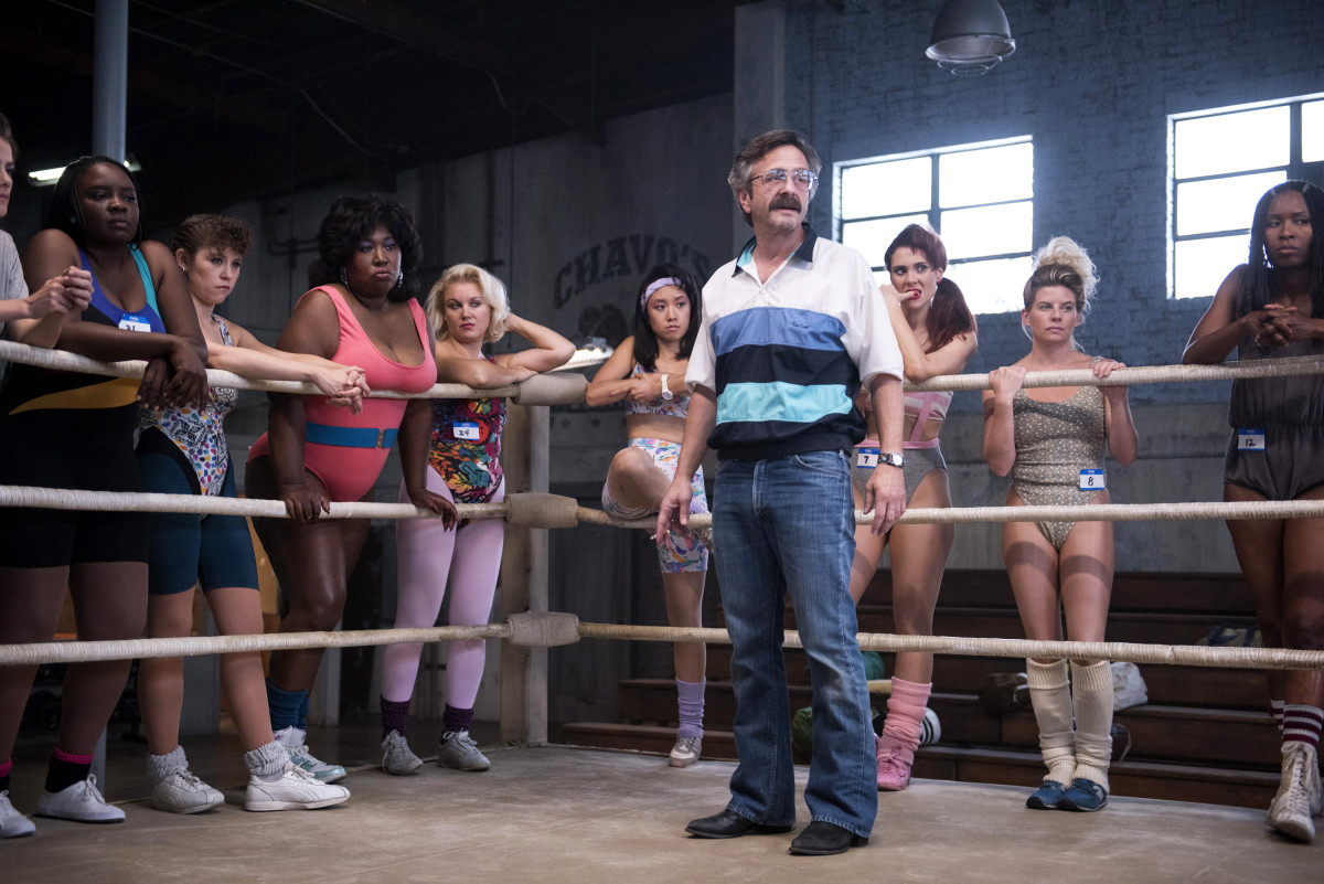 "Sam (Marc Maron) surrounded by the ladies. Morgan custom-copied a pair of vintage cowboy boots for him and accessorized him in man-jewelry. ""He has some turquoise jewelry to just deepen the level of his past that we're unclear of in ways,"" she says. ""You could just tell he has stories."" Photo: Erica Parise/Netflix"