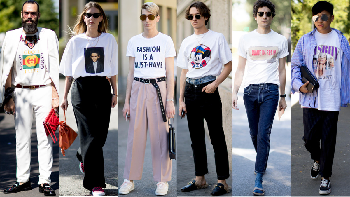 White Graphic T-Shirts Were Everywhere at Milan Men s Fashion Week ... 1ad1c66cd3