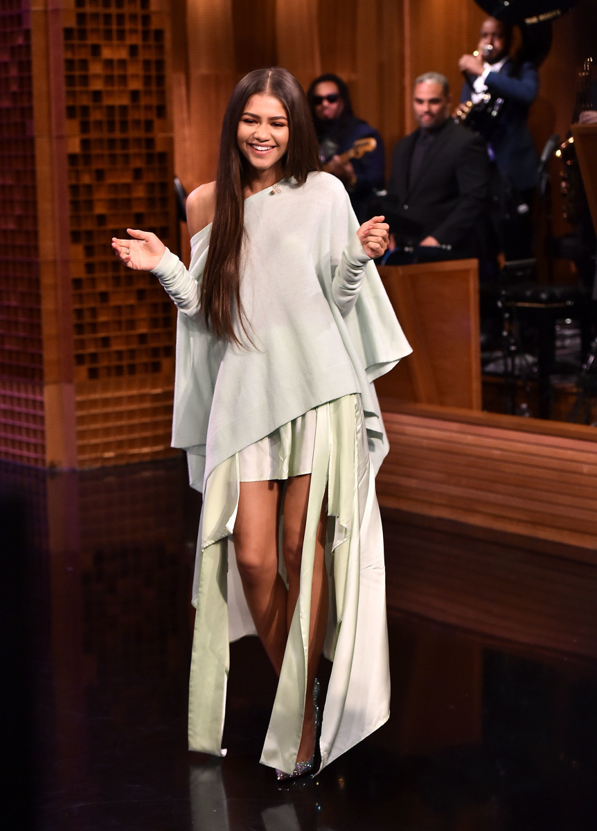 "Zendaya in Sies Marjan on ""The Tonight Show Starring Jimmy Fallon"" on Tuesday in New York City. Photo: Theo Wargo/Getty Images"