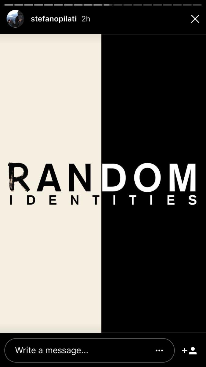 Logo from Stefano Pilati's Random Identities collection. Screengrab: @stefanopilati/Instagram Stories