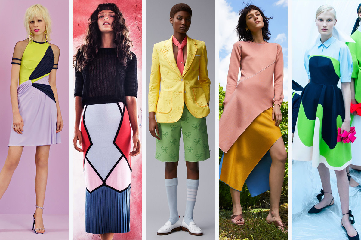 (L-R): Versace, Tabula Rasa, Thom Browne, Rosetta Getty and Delpozo.