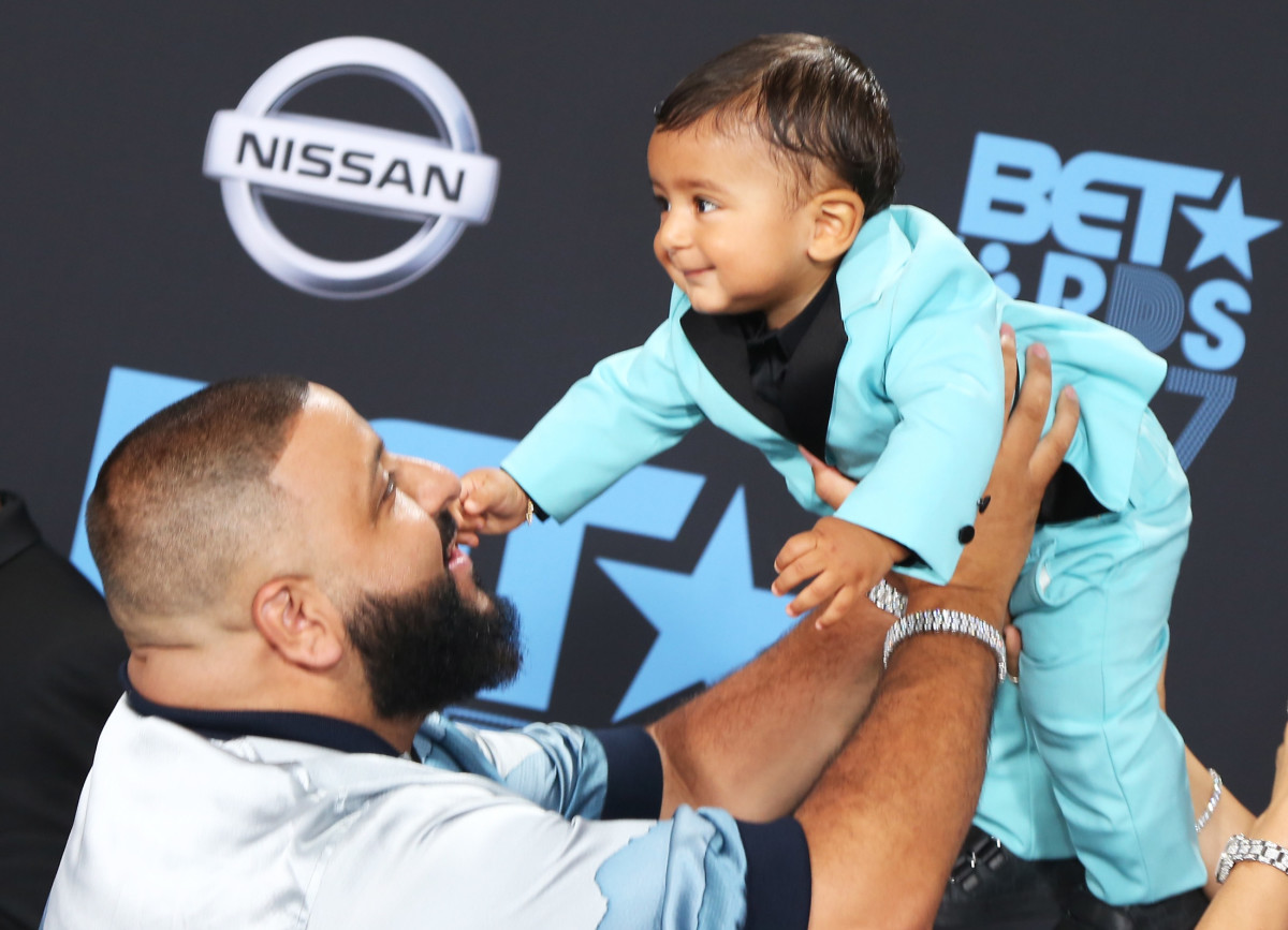 DJ Khaled and Asahd Tuck Khaled in Gucci at the 2017 BET Awards. Photo: Maury Phillips/Getty Images