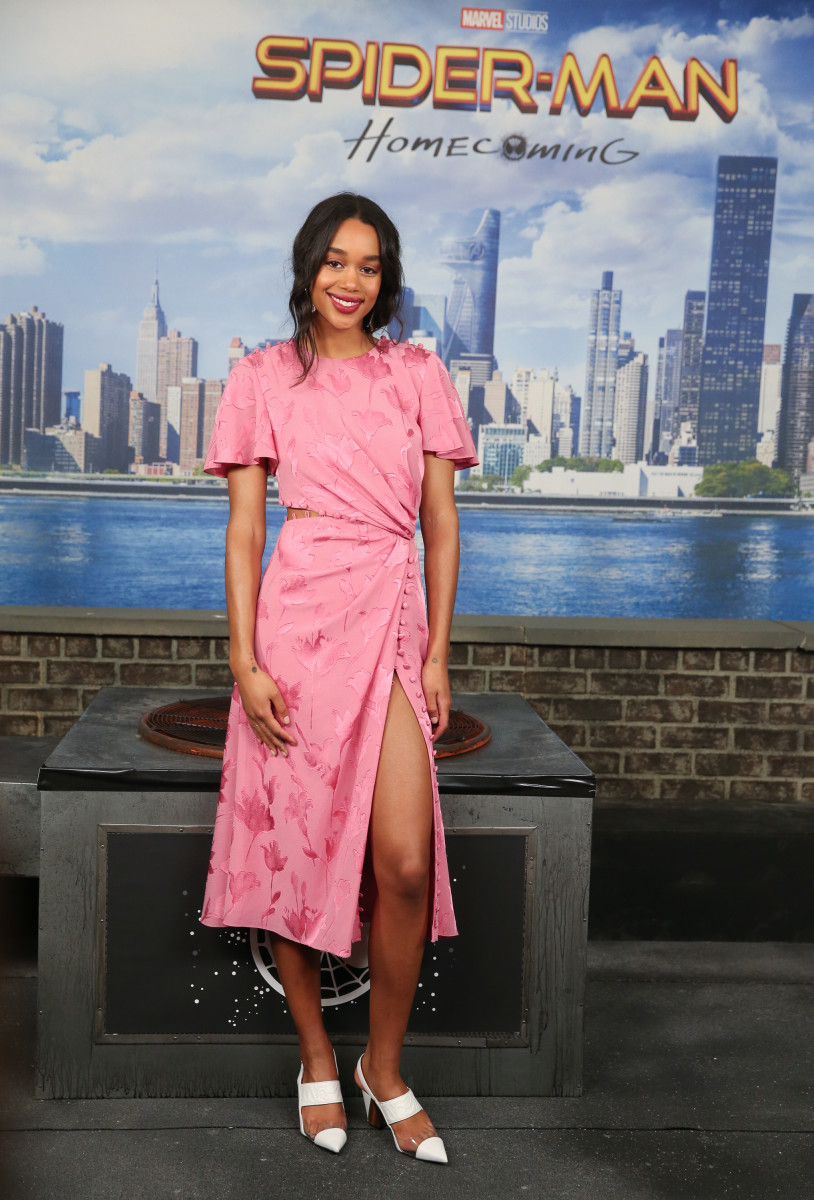 "Laura Harrier in Prabal Gurung at a ""Spider-Man: Homecoming"" photo call. Photo: Rob Kim/Getty Images"