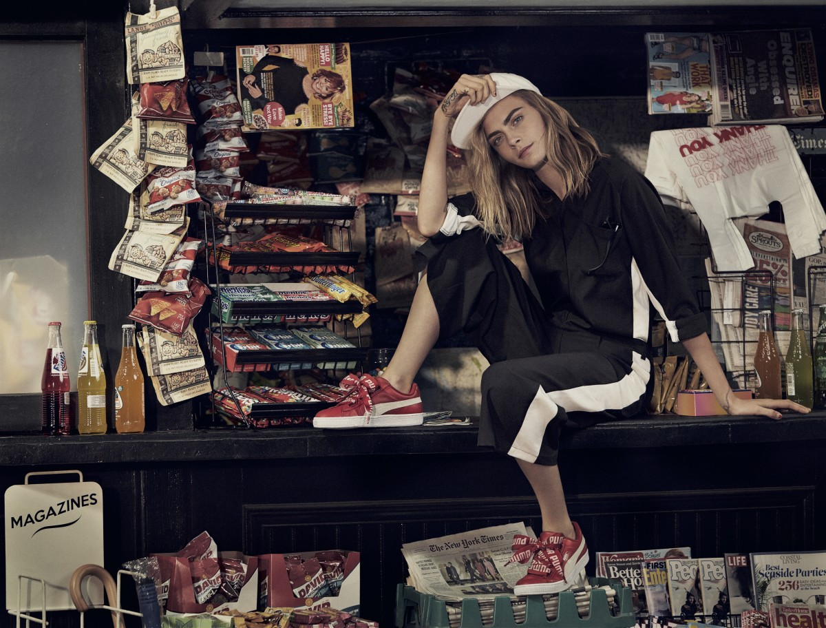 Cara Delevingne for Puma's Fall 2017 Basket Heart sneaker campaign. Photo: Puma