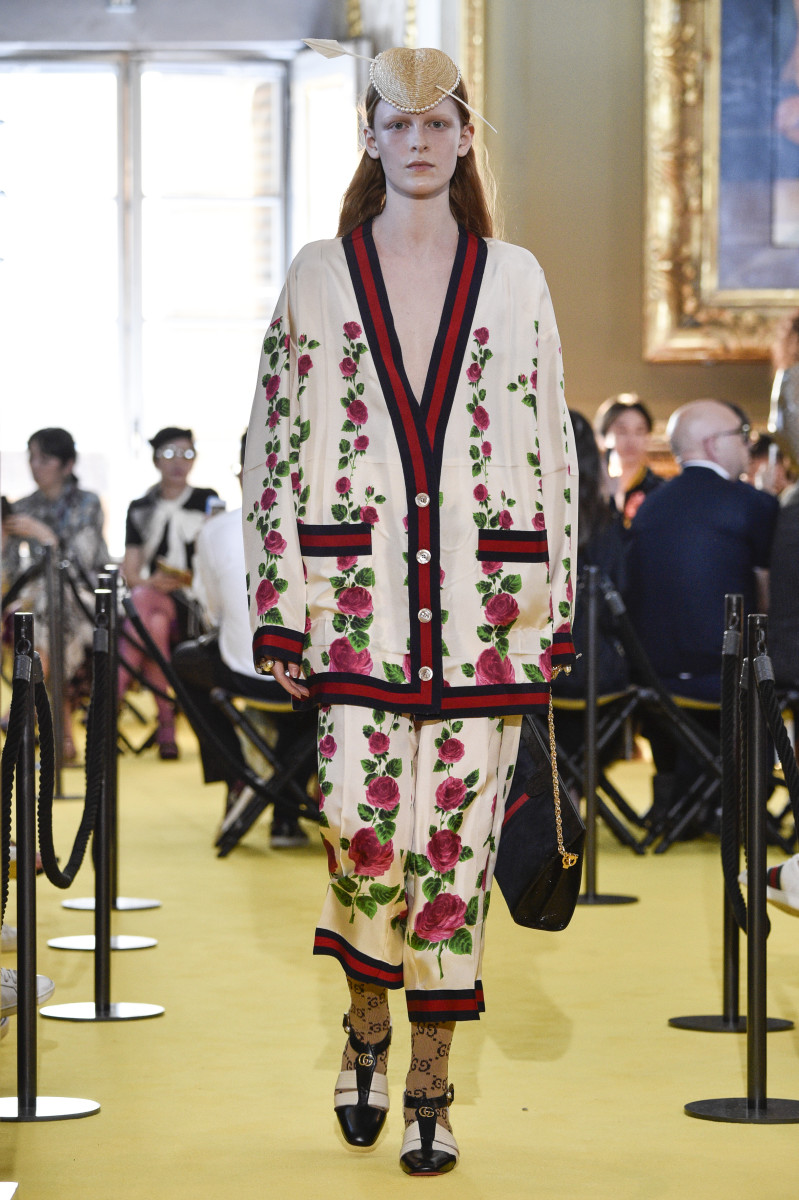 A look featuring stripes from the Gucci Cruise 2018 show in Florence, Italy. Photo: Pietro D'Aprano/Getty Images