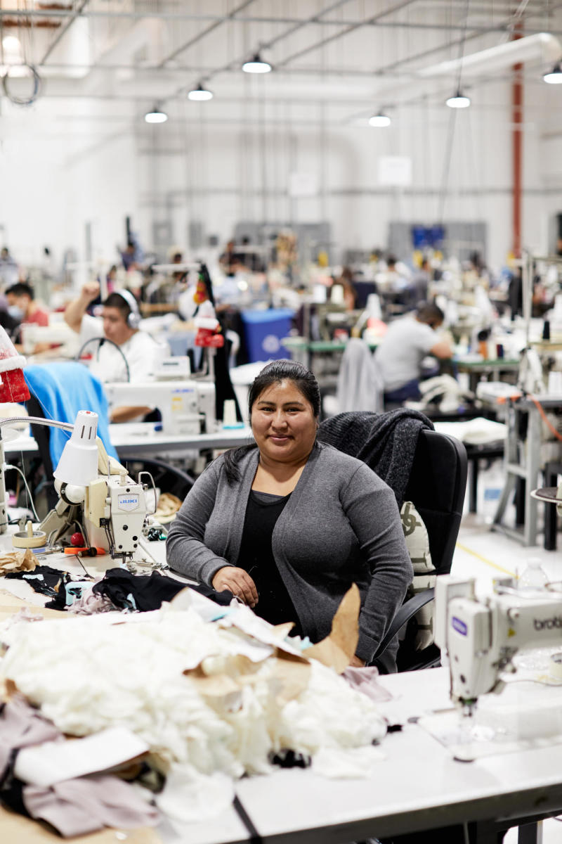 Elena, a worker inside Reformation's Los Angeles factory. Photo: courtesy of Reformation