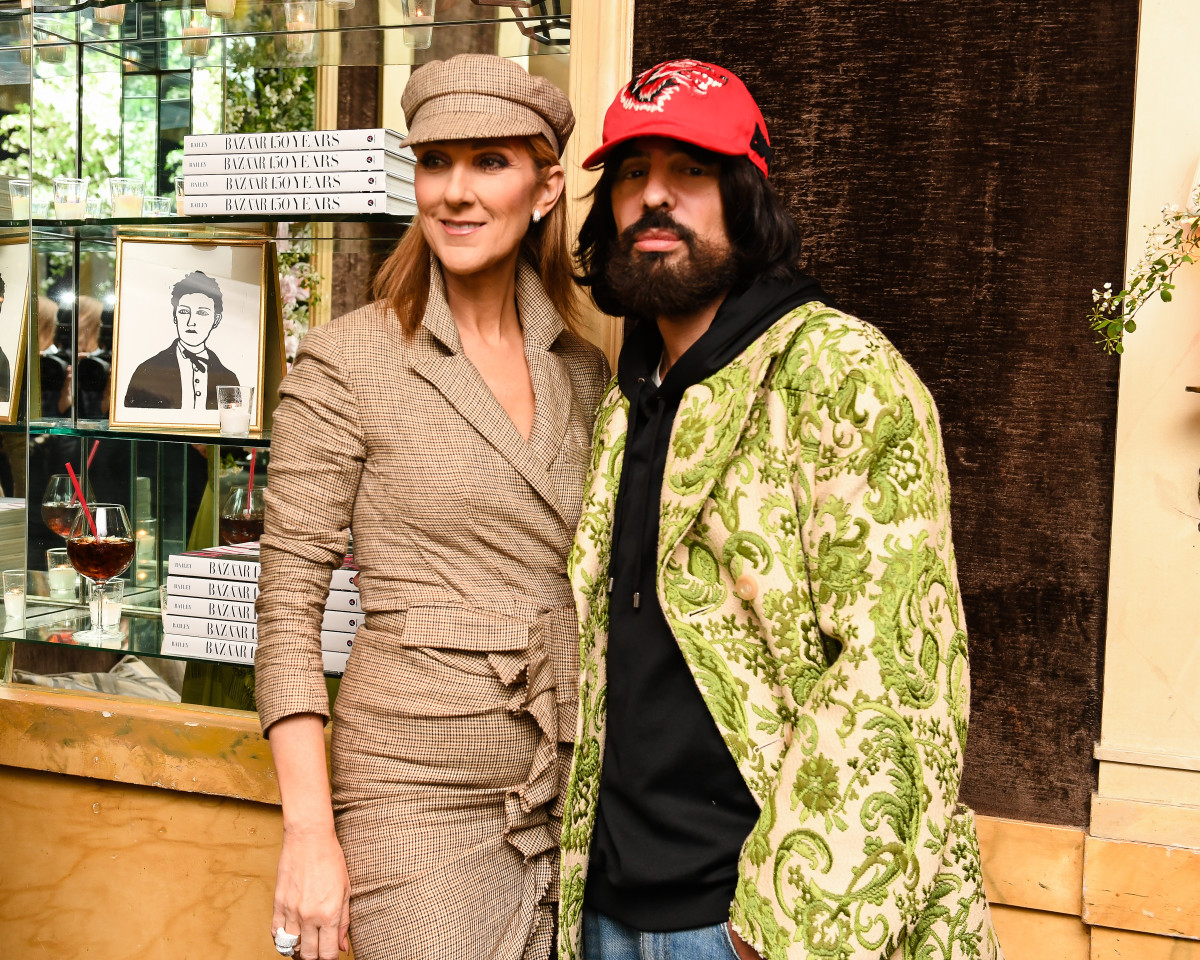 Céline Dion and Alessandro Michele celebrate 'Harper's BAZAAR: 150 Years: The Greatest Moments' at the Carlyle in New York. Photo: courtesy American Express Platinum