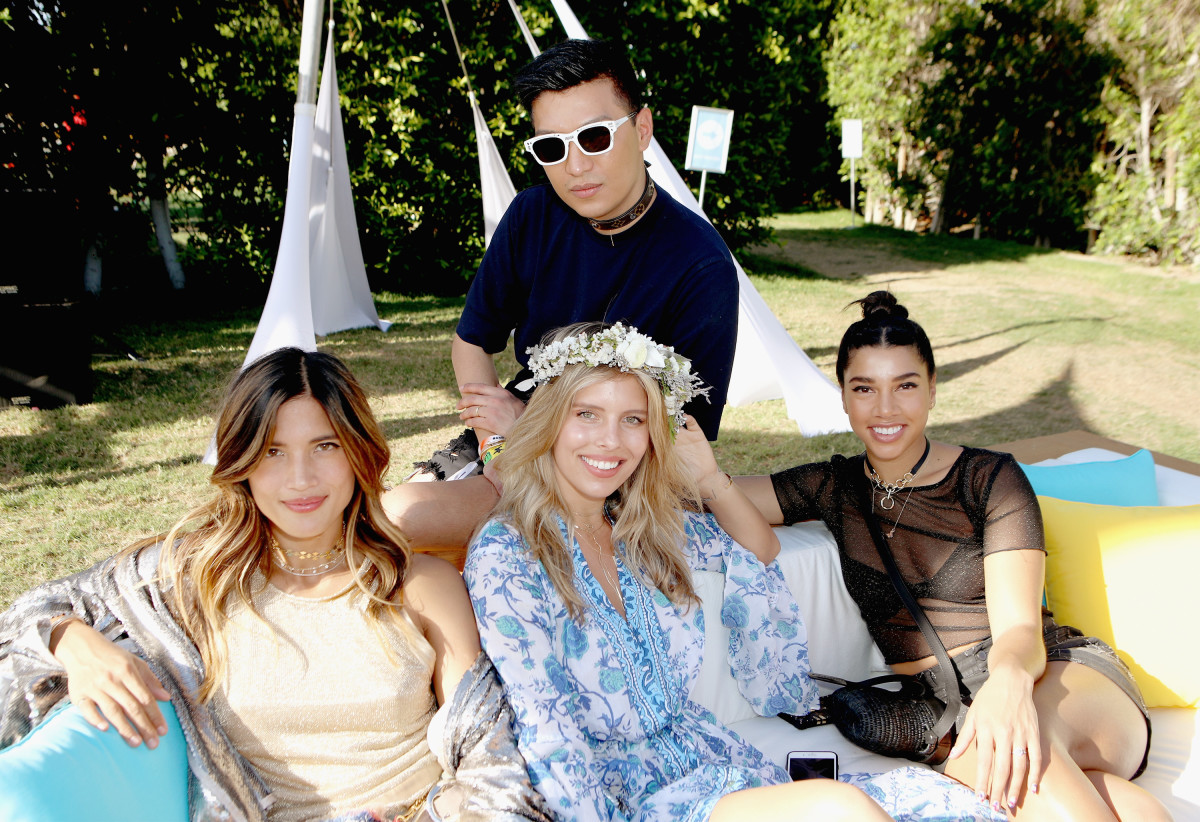 Just chillin' at the 'chella AmEx Platinum House. Top: Bryanboy. Bottom row, L-R: Rocky Barnes, A Bikini A Day founder Natasha Oakley and Hannah Bronfman. Photo: Getty/courtesy American Express Platinum