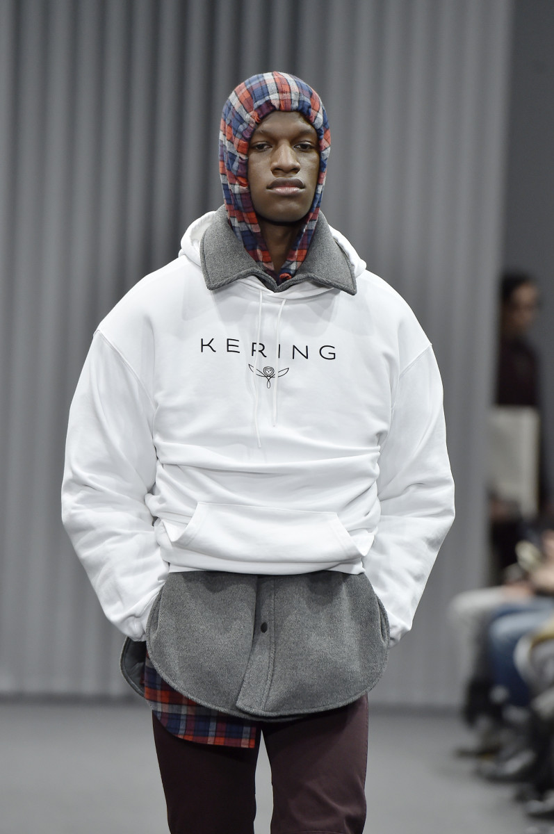Balenciaga paid a literal homage to its owner on its Fall 2017 men's runway. Photo: Catwalking/Getty Images