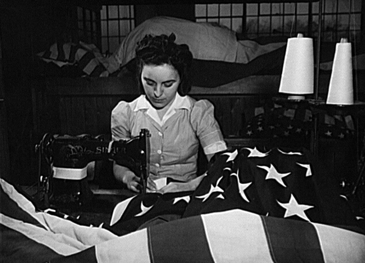 Seamstress at Annin Flag Company, 1943. Photo: Wikimedia Commons