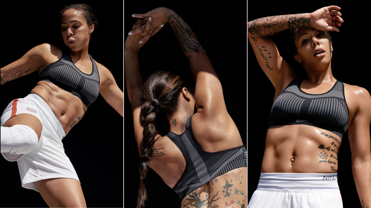Soccer player and Olympic gold medalist Sydney Leroux in the Nike FE/NOM Flyknit Bra. Photo: Nike