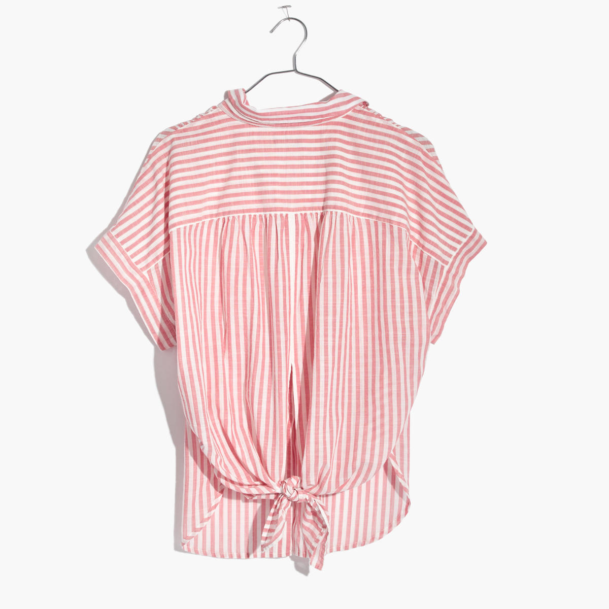 Tie-back shirt in rose stripe, $69.50, available at Madewell.