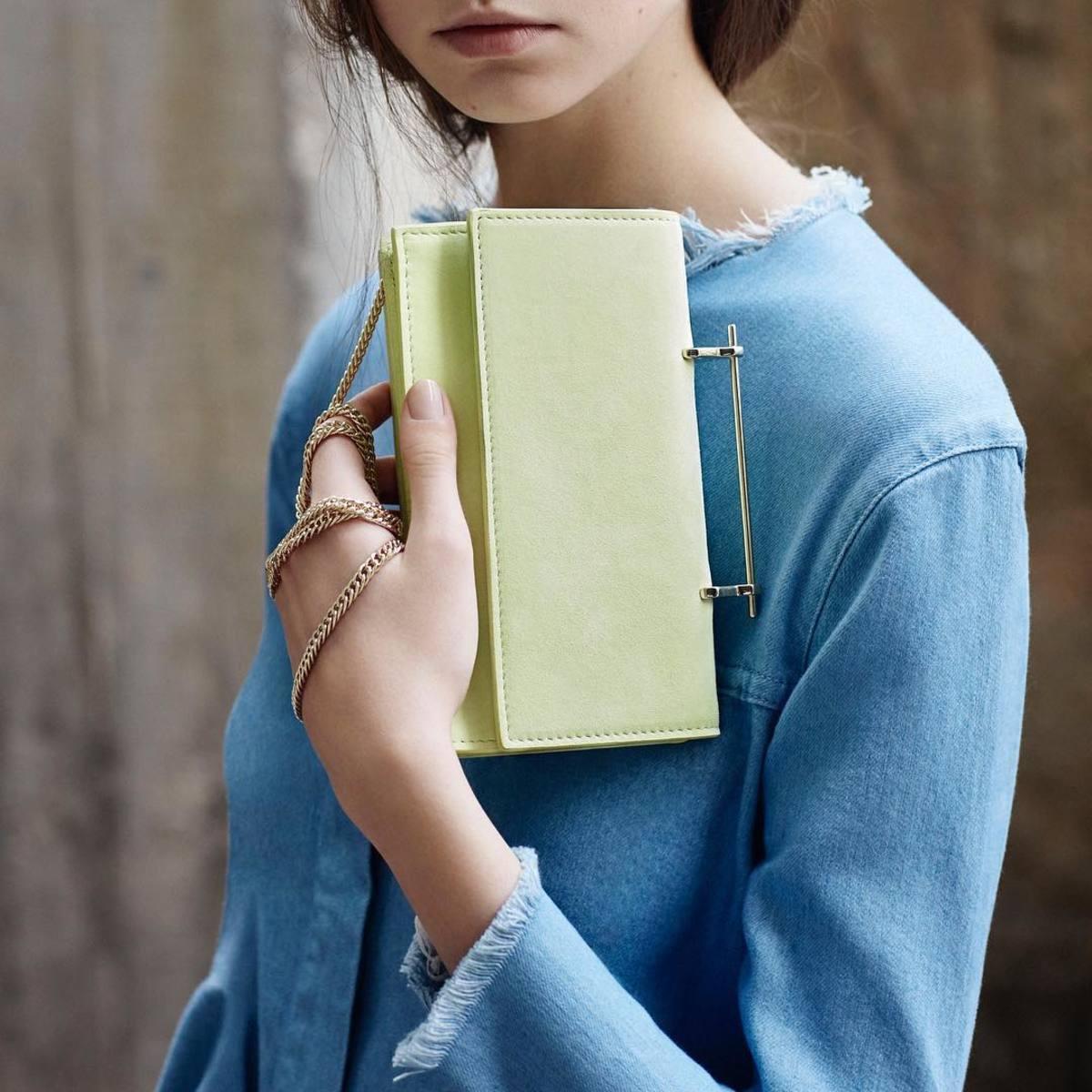 M2Malletier's new Alexia bag in neon yellow suede. Photo: @m2malletier/Instagram