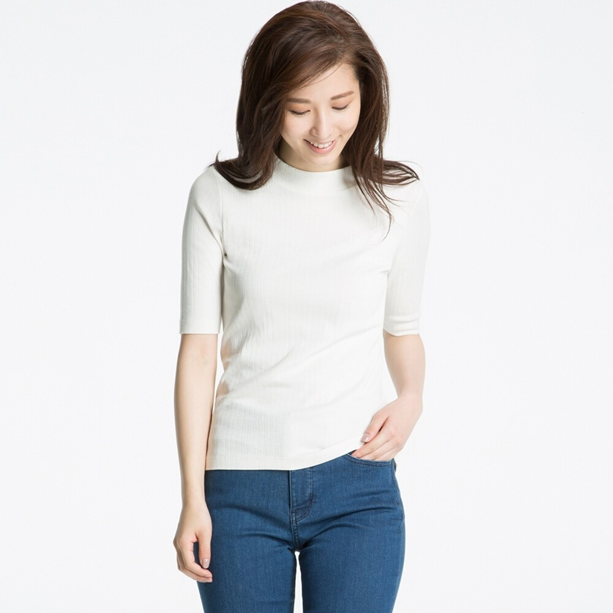 Uniqlo ribbed high-neck half-sleeve T-shirt, $14.90, available at Uniqlo.