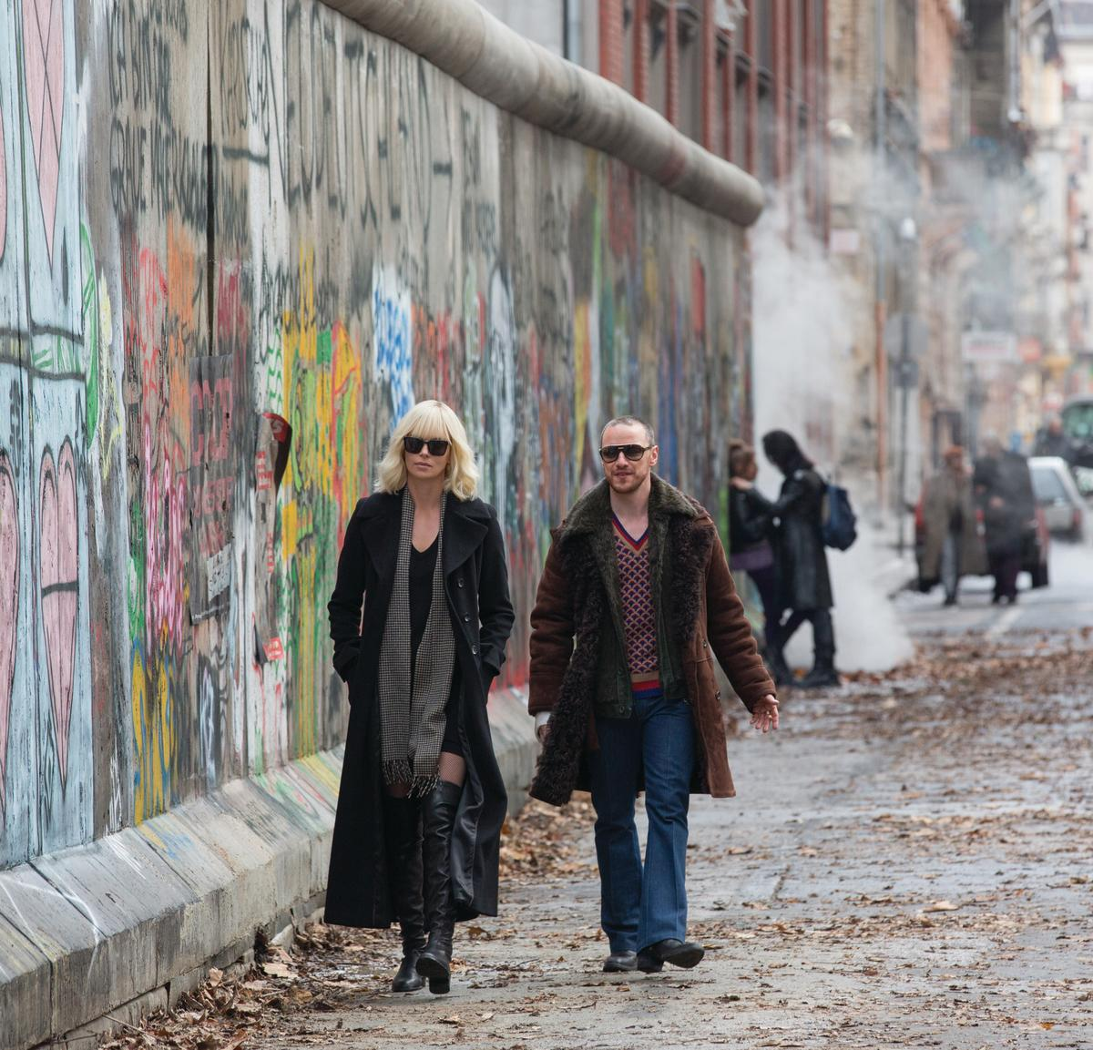 Lorraine and Percival (James McAvoy) in his East Berlin steez. Photo: Jonathan Prime/Focus Features