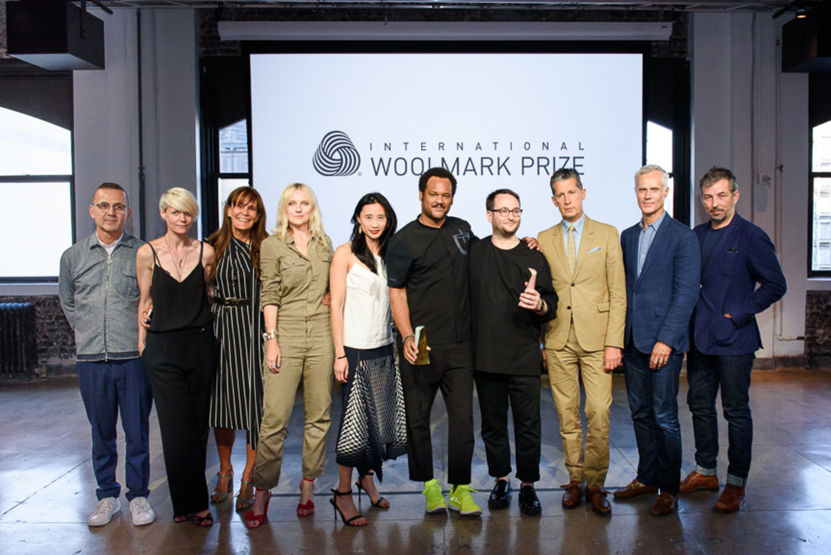 Bevans and Affas with the U.S. Woolmark Prize judging panel. Photo: BFA