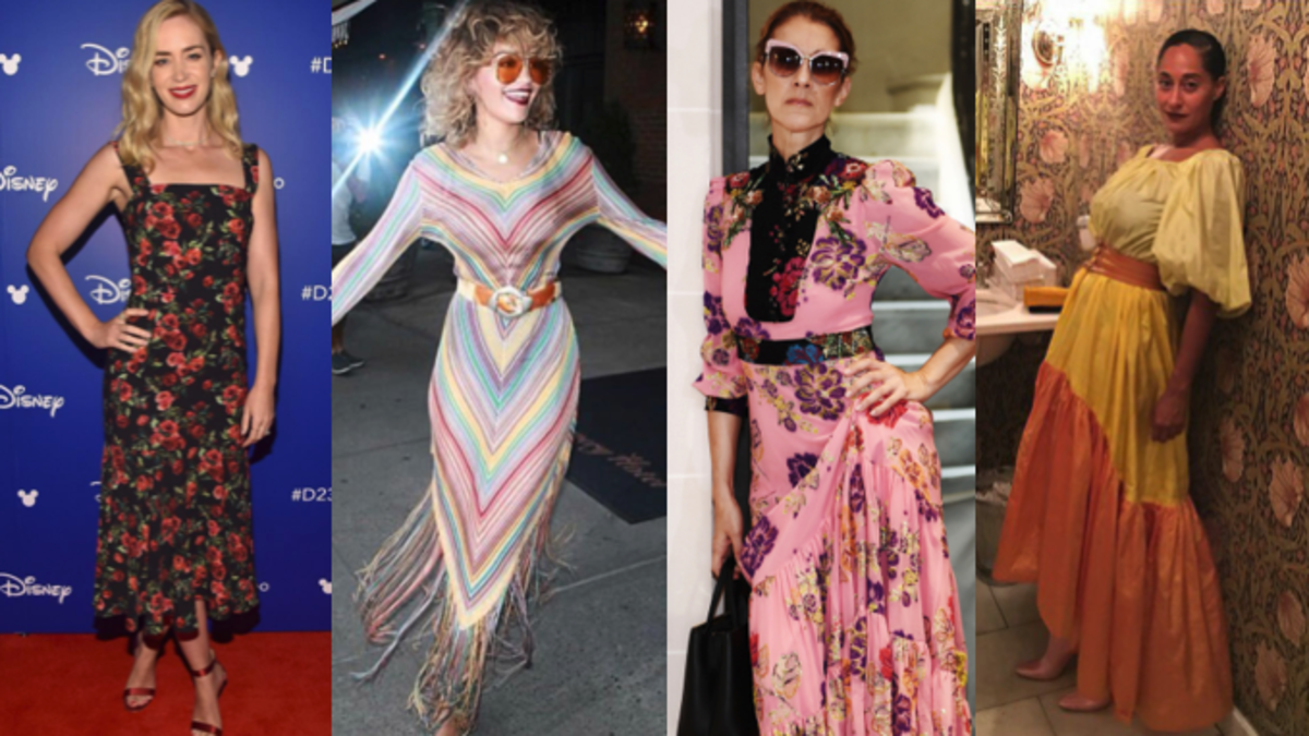 Emily Blunt in Dolce & Gabbana. Photo: Courtesy of Dolce & Gabbana; Rita Ora. Photo: @ritaora/Instagram; Céline Dion in Gucci. Photo: @celinedion/Instagram; Tracee Ellis Ross in vintage Yves Saint Laurent. Photo: @traceeellisross/Instagram