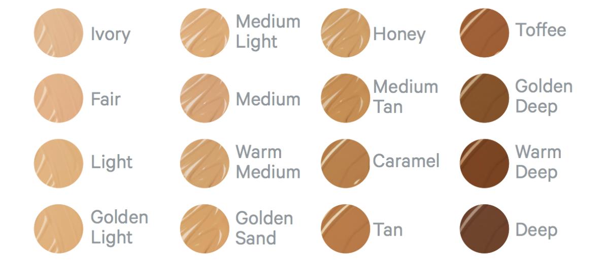 The full shade range for Milk Makeup's Blur Liquid Matte Foundation.