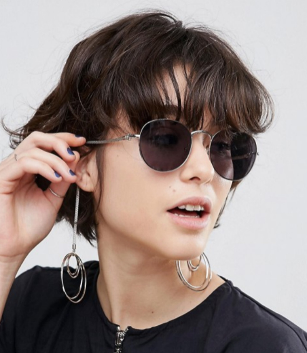 ASOS round sunglasses with hoop earrings, $20.50 (from $26), available at ASOS.
