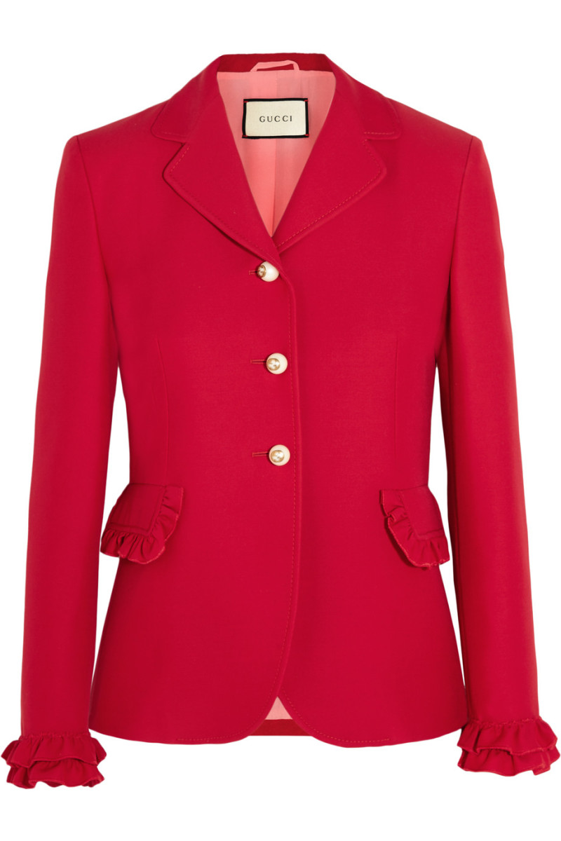 Gucci ruffled wool and silk-blend jacket, $2,200, available at Net-a-Porter.