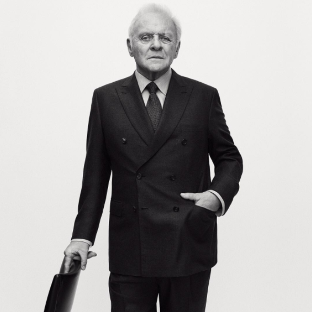 Sir Anthony Hopkins in Brioni's Fall 2017 campaign. Photo: @brioni_official/Instagram