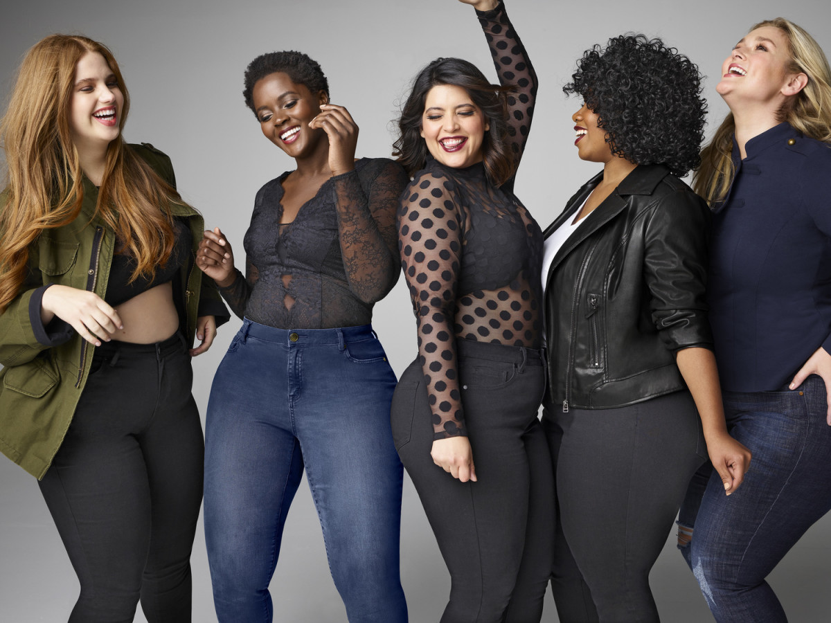 "Models (Denise Bidot, middle) in Lane Bryant's ""New Skinny"" campaign. Photo: Lane Bryant"