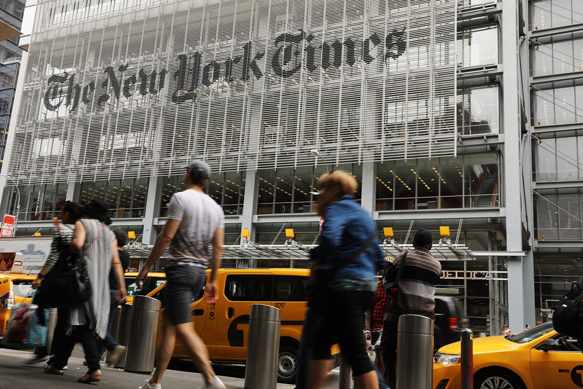 """""""The New York Times"""" building on West 41st Street. Photo: Spencer Platt/Getty Images"""