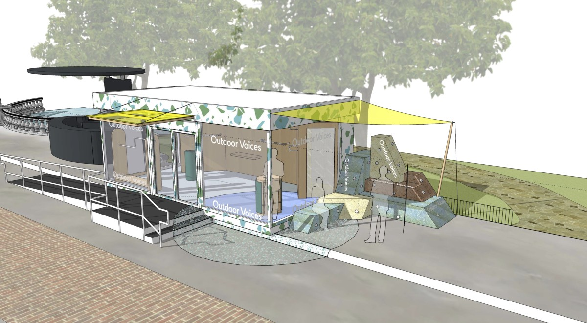 A rendering of the Outdoor Voices pop-up at The Grove.