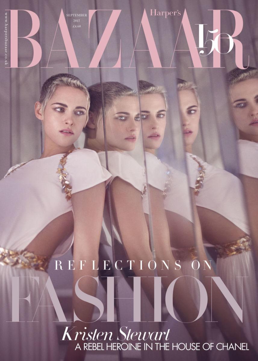 """Kristen Stewart on the September 2017 cover of """"Harper's Bazaar"""" UK. Photo: Tom Craig"""