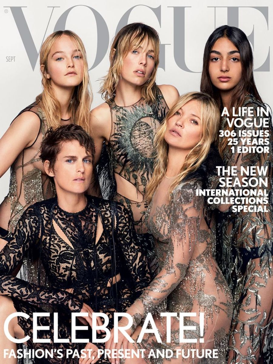 "Nora Attal, Edie Campbell, Jean Campbell, Stella Tennant and Kate Moss on British ""Vogue""'s September 2017 issue. Photo: Marie Testino/British ""Vogue"""