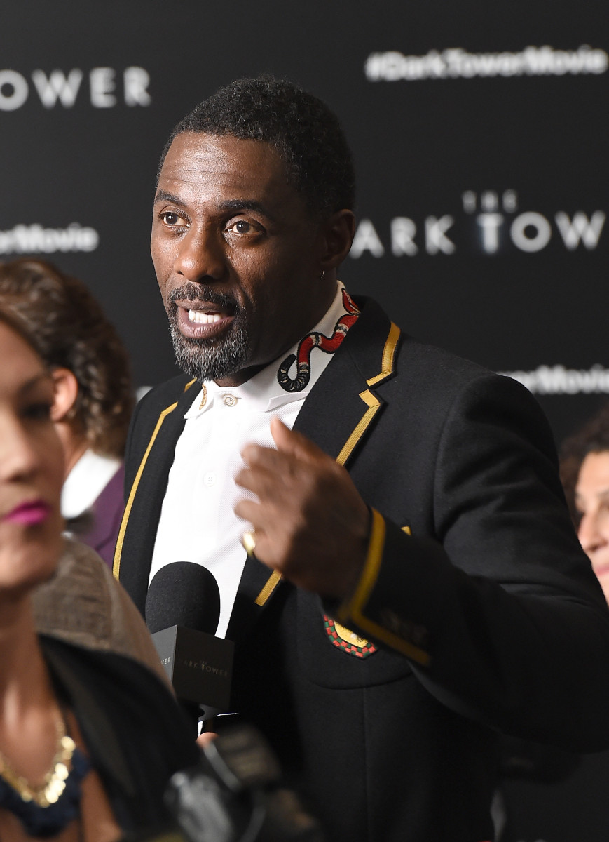 "Idris Elba in Gucci at the New York premiere of ""The Dark Tower."" Photo: Michael Loccisano/Getty Images"