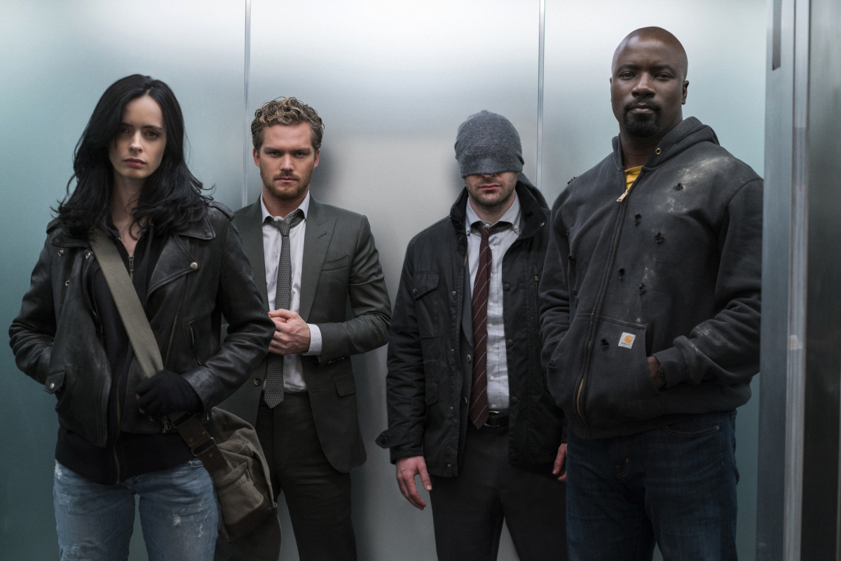 Jessica Jones (Krystin Ritter), Danny Rand/Iron Fist (Finn Jones), Matt Murdock/Daredevil (Charlie Cox) and Luke Cage (Mike Colter). Photo: Sarah Shatz/Netflix
