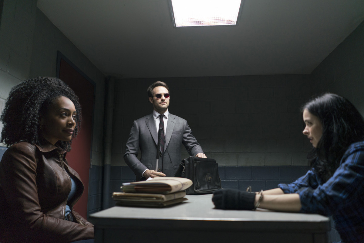 Misty (Simone Missick), Matt Murdock and Jessica Jones in Jessica Jones's world. Photo: Sarah Shatz/Netflix