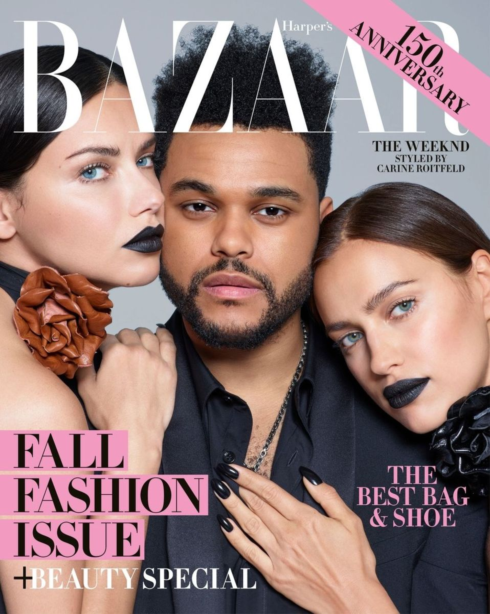 "The Weeknd in Saint Laurent with Adriana Lima and Irina Shayk on the September 2017 cover of ""Harper's Bazaar."" Photo: Brigitte Lacombe"