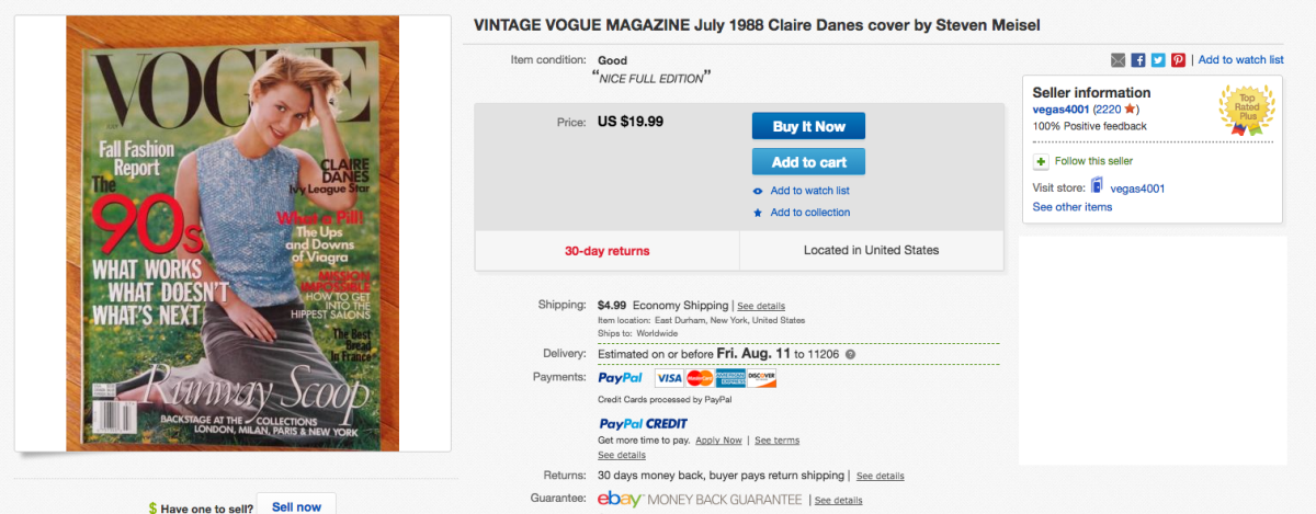 "An eBay listing for ""Vogue""'s July 1998 issue, featuring Claire Danes. Photo: Screenshot"