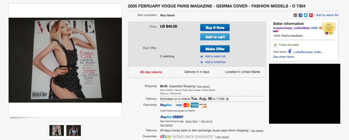 "An eBay listing from Matt Oran for ""Vogue"" Paris's February 2005 issue. Photo: Screenshot"