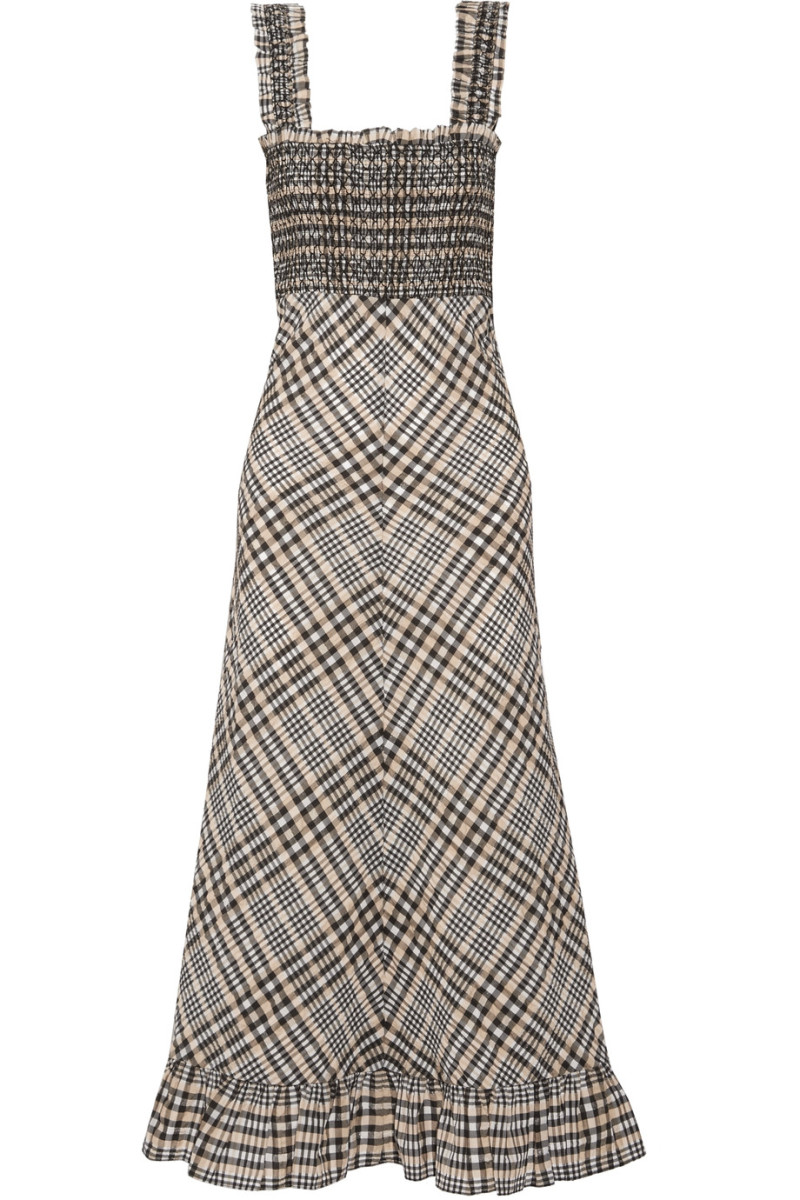 "Ganni ""Charron"" checked cotton-blend seersucker maxi dress, $295, available at Net-a-Porter."