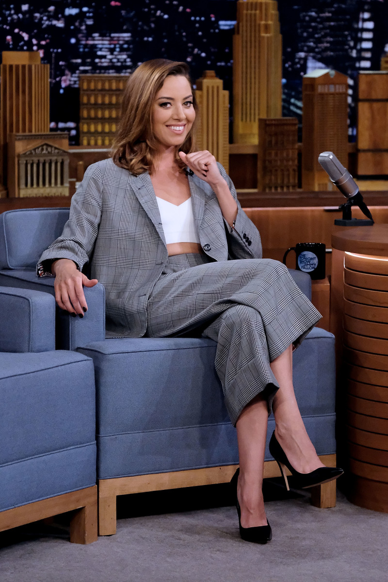Aubrey Plaza in Thom Browne Resort 2018 on 'The Tonight Show Starring Jimmy Fallon.' Photo: Mike Coppola/Getty Images for NBC