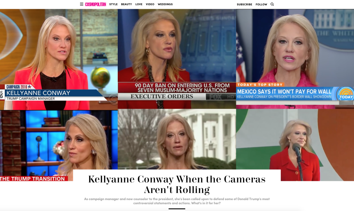 An interview with Kellyanne Conway that ran on Cosmo.com. Photo: Screenshot