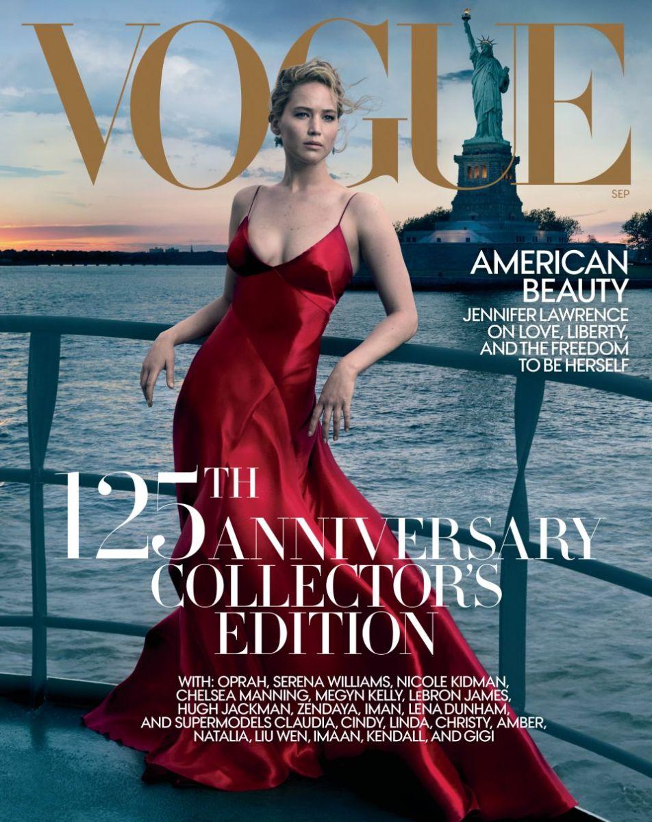 "Jennifer Lawrence on ""Vogue""'s September 2017 issue. Photo: Annie Leibovitz"