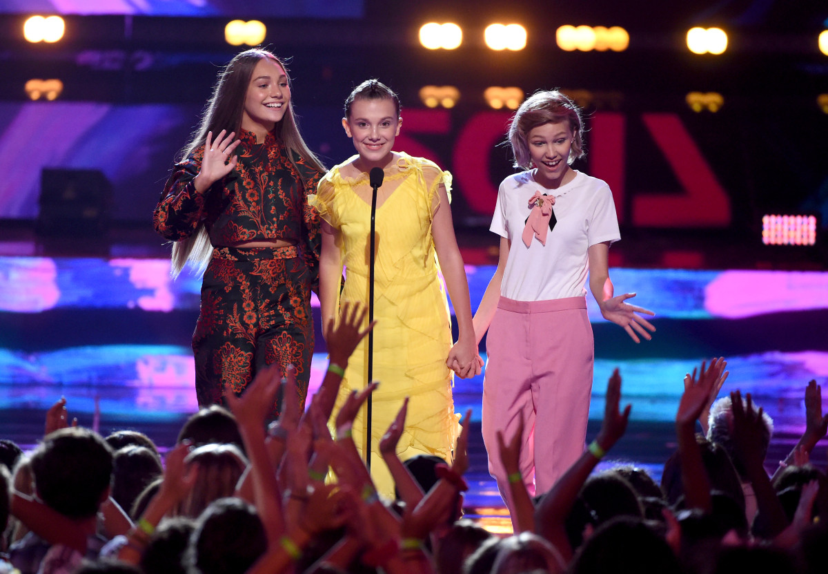 Maddie Ziegler, Millie Bobby Brown and Grace VanderWaal at the 2017 Teen Choice Awards. Photo: Kevin Winter/Getty Images