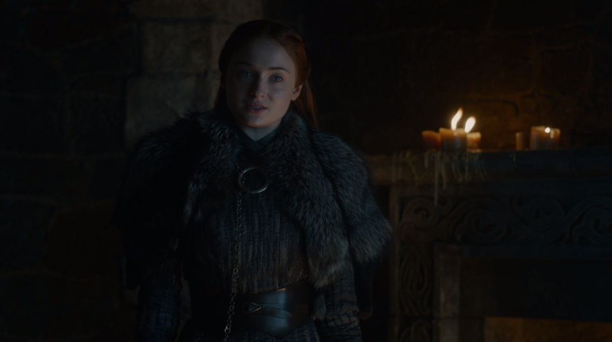 All I'm saying is that even in the middle of a crisis, Sansa Stark is popping off a fire 'fit and hair situation. Photo: HBO/Screenshot