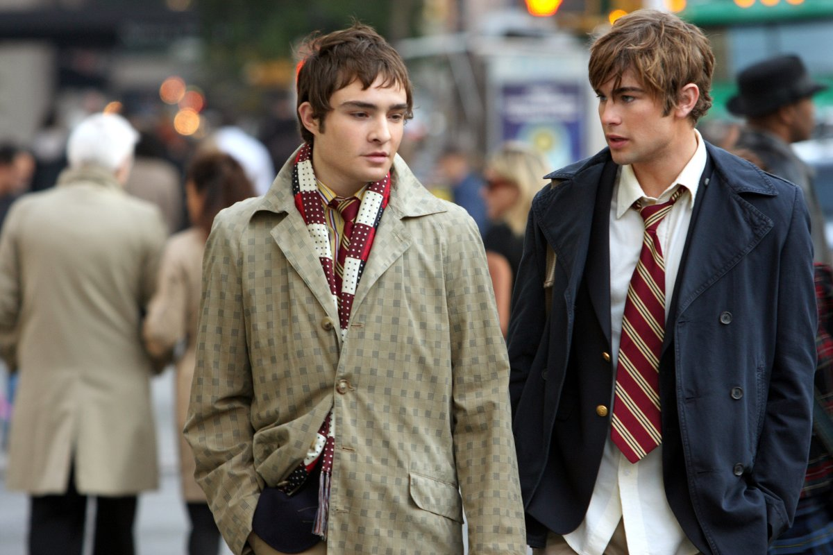 Chuck Bass and Nate Archibald in their school uniforms. Photo: Courtesy Warner Brothers