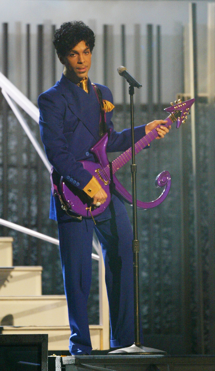 """Prince performs """"Purple Rain"""" at the 46th Annual Grammy Awards. Photo: Frank Micelotta/Getty Images"""